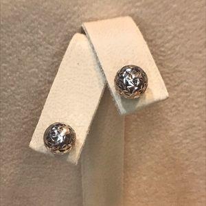 Sterling Silver Diamond-Cut Ball Earrings